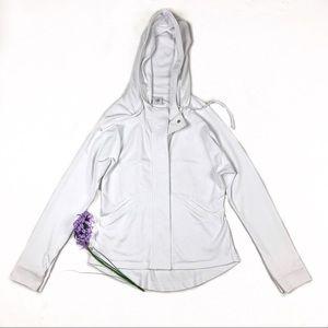 CAbi White Soho Button Down Hooded Jacket